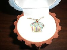 BLUE CUPCAKE NECKLACES IN VELOUR CUPCAKE GIFT BOX