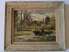 AMADIO SIGNED PAINTING AMERICAN IMPRESSIONISM CENTRAL PARK? VINTAGE 1950'S