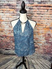 NWT $150 Michael Kors Blue Sleeveless Paisley Silver Detail SILK Halter Top Sz M