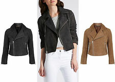 Women's Casual Faux Suede Biker Zip Coats & Jackets