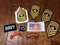 9 US Military Army Patches Drill Instructor Okinowa Navy 1st Sergeant USA Flag