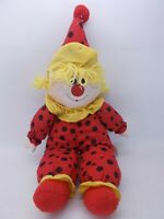 "Vintage Cuddle Wit Circus Clown Stuffed Toy 20"" Plush Red and Yellow Black Dots"