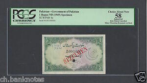 Pakistan One Rupee ND 1949 P4s Specimen About Uncirculated