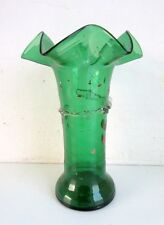 Antique Rare Old Hand Carved Green Glass Islamic Ottoman Decor Flower Vase Pot