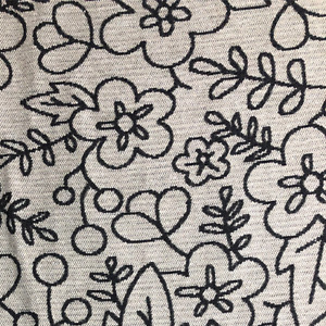 High Quality Floral Black White Chenille Fabric Woven Upholstery Cushion BF011