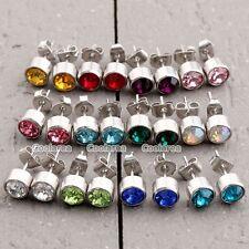 24pc Stainless Steel Crystal Birthstone 6MM Round Mens Womens Ear Stud Earrings