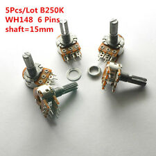 5Pcs B250K 250K WH148 15mm 6 Pin Dual Stereo Linear Potentiometer Double Rotary