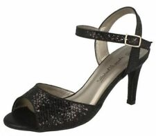 Ladies Anne Michelle Glitter PEEP Toe Sandals F10467 Black 5 UK Regular