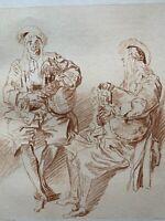 Antoine Watteau Gravure Eau Forte Sanguine Etching Joueurs De Cornemuse Bagpipe