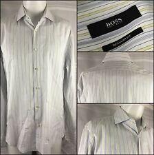 Hugo Boss Dress Shirt 16 34 Yellow Gray Stripe 100% Cotton YGI 70K