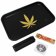 Black Rolling Tray Bundle - 110mm Rolling Machine + King Size RAW Paper + Loader
