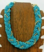"Vintage Multi Strand Turquoise Blue Color Gold Braided Seed Bead 21"" Necklace"