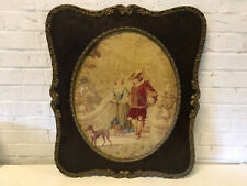 Antique Framed Tapestry of Cavalier Man Woman & Whippet Dog Walking