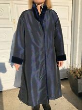 Faux Fur-Lined Winter Coat - Large - Navy blue with paisley pattern women