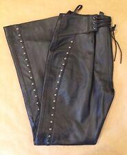 Harley Davidson Women's Studded Black Leather Motorcycle Biker Pants Sz 6