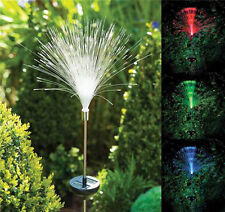 Solar Power Color Change Fibre Optic Garden Outdoor Yard LED Light Lamp Bulb