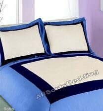Lit double bleu SOHO Bleu Marine Crème SQUARE frontière poly coton parure de lit