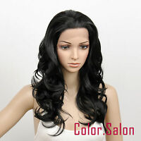 HAND TIED Synthetic Hair LACE FRONT FULL WIGS GLUELESS HEAT SAFE Off Black 27#1B