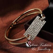 18K Gold Plated Simulated Diamond Luxury Double Band Rectangle Strip Bangle