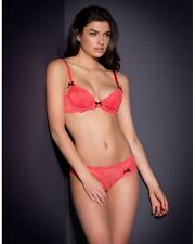 AGENT PROVOCATEUR LOLAH CORAL BRA AND BRIEF SET SIZE 32DD XS / 1 / 6-8 BNWT