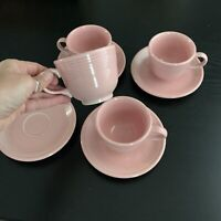 Fiestaware Rose Pink Set of 4 Tea Cup and Saucer Homer Laughlin USA Retired Vtg