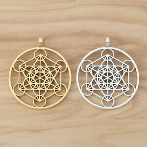 5 Pieces Silver/Gold Large Archangel Metatron Cube Symbol Round Charms Pendants