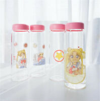 Sailor Moon Glass Water Bottle Girls Pink Cute Drinking Creative student Cup