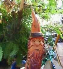 Wood spirit carving western wizard knothead gnome art dwarf elf ooak by Gary