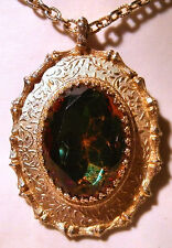 Sarah Coventry Gold Metal Pendant with Green and Red Stone