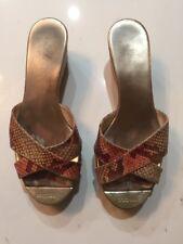 Jimmy Choo Panna Snake Leather Cork Wedge Sandals Gold Metalic Toe- Size 36