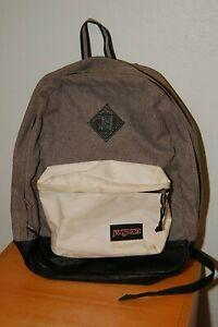 JANSPORT Grey, White BACKPACK w/ Black Leather Bottom