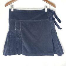 Joie Womens Mini Skirt 10 Corduroy Pleated Side Adjustable Blue Stretch