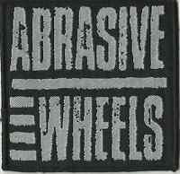 ABRASIVE WHEELS logo RARE square WOVEN SEW ON PATCH - no longer made