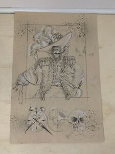 RARE-ORIGINAL-SIGNED-Tony Diterlizzi Illustrator-1991-Captain Hook-Art Sketch