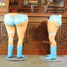 Cow Girl Bar Stool Pair with Polka Dot Bikinis Western Boots and Foot Rail