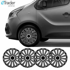 "16"" Renault Traffic Wheel Trims Hubcaps Wheel Trim Set of 4 Black & Silver Cover"