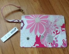 """NWT Chico's LBBC Breast Cancer Pink Floral Zip Pouch Wristlet Accessories 9.5"""""""