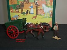 BRITAINS 8707 HOME FARM CIVILIAN HORSE DRAWN TUMBREL CART METAL FIGURE SET
