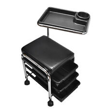 BLACK Pedicure Manicure Nail Salon SPA Cart Trolley Stool CHAIR w/ Shelves