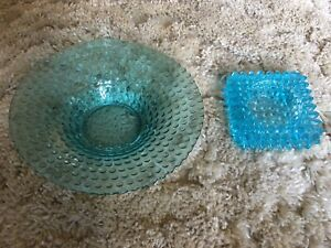 BLUE GLASS TEA LIGHT CANDLE HOLDERS BEAUTIFUL!!