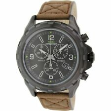Timex T49986, Men's Expedition Brown Leather Watch, Chronograph, Indiglo, Date