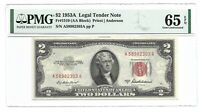 1953A $2 LEGAL TENDER, US NOTE, PMG GEM UNCIRCULATED 65 EPQ BANKNOTE, 1st of 2