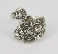 Vintage Wallace Grand Baroque Sterling Silver Spoon Ring Size 7
