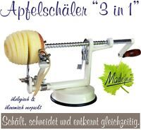 Profi Alu- Apfelschäler Apfelschneider Apfelentkerner Apfelmaschine, Cremeweiss