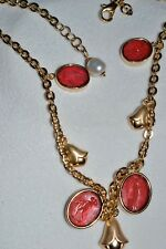 TAGLIAMONTE 925 SSYGPL NECKLACE*FANCY LINK*MULTI CAMEO*ROSE PINK*FLORAL GORGEOUS