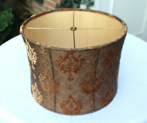 Gold/Brown/Orange Damask  Medallion Print Cut Velvet Lined Drum Lamp Shade