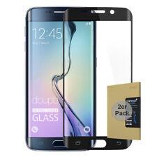 2x 9H Hartglas Samsung S6 Edge HD Panzer Display Schutz Folie FullCover Schwarz