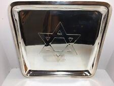 """Mark & Graham Judaica """"Star of David"""" Silver Platter Tray 14� Serving Dining"""