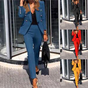 Women's Ladies Long Sleeve Suit Two-piece Suit Suit Work Formal Wear TOP FADDISH