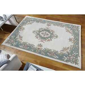X LARGE Tusaro Aubusson Cream Green Thick Wool Rug 200X285cm